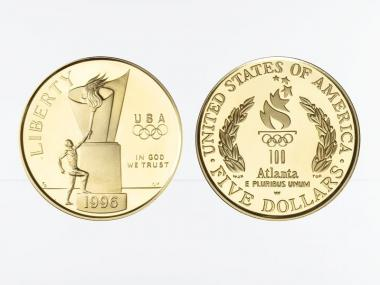 USA 5 $  Gold, Olympisches Feuer 1996 (W), PP