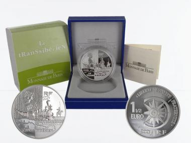 Frankreich 1,5 €  Transsibirische Eisenbahn 2004 PP, Silber