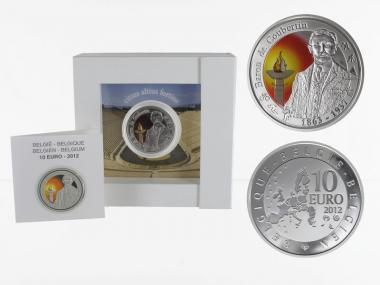 Belgien 10 €  De Coubertin 2012 PP, Silber