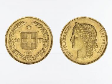 Schweiz 20 Franken Helvetia Goldmünze 1891