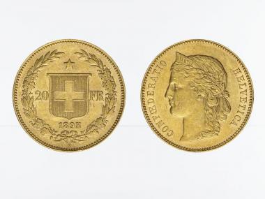 Schweiz 20 Franken Helvetia Goldmünze 1895