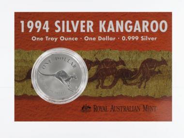 Australien 1$ Känguru 1994, 1 oz  Silber Blister