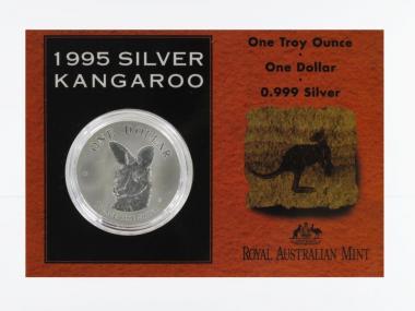 Australien 1$ Känguru 1995, 1 oz  Silber Blister