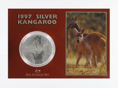 Australien 1$ Känguru 1997, 1 oz  Silber Blister