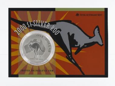 Australien 1$ Känguru 2000, 1 oz  Silber Blister