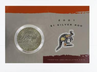 Australien 1$ Känguru 2001, 1 oz  Silber Blister