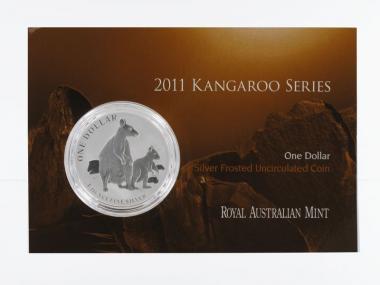 Australien 1$ Känguru 2011 Blister, 1 oz  Silber