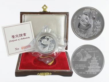 China Panda  1996 München Messe 1 oz  Silber PP