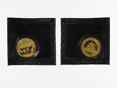 China 50 Yu  Panda 2009 Folie, 1/10 Unze Feingold