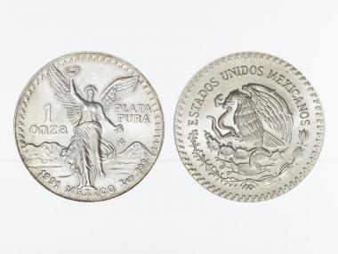 Mexiko Libertad, 1991 1 onza mit geriffeltem Rand