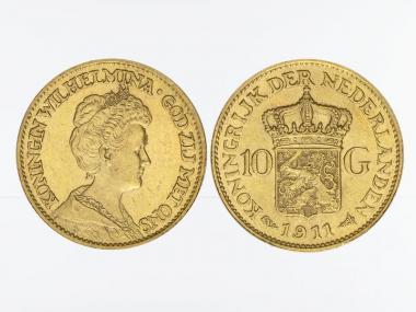 Niederlande 10 Gulden Gold Königin Wilhelmina I. 1911