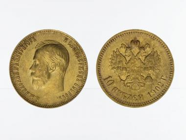 Russland 10 Rubel Nikolaus II,  1902