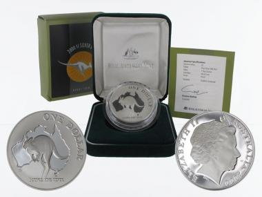 Australien 1$ Känguru 2000, 1 oz  Silber proof (B+C)