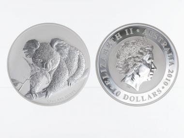 Australien 10 $ Koala 2010, 10 Unzen  Silber