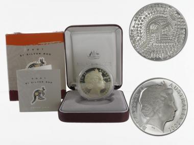Australien 1$ Känguru 2001, 1 oz  Silber proof (B+C)