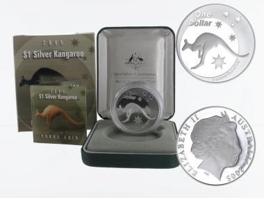 Australien 1$ Känguru 2005, 1 oz  Silber proof (B+C)