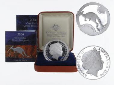 Australien 1$ Känguru 2006, 1 oz  Silber proof (B+C)