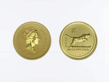 Australien 25 $ Lunar I  Tiger, 1/4 Unze  1998