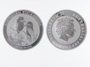Australien 30$ Kookaburra 2013, 1 Kilo Kg  Silber, Neu