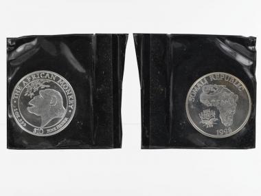 Somalia 10 $  Affe  1998, 1 Unze in Folie