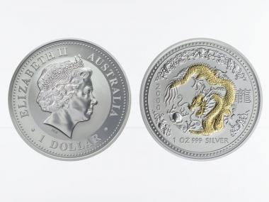 Australien 1 $ Drache Lunar I  2000, 1 oz  Silber, gildet