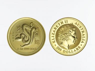 Australien 200 $ Lunar I Schlange, 2 Unzen  2001