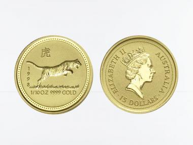 Australien 15$ Lunar I Tiger, 1/10 Unze  1998