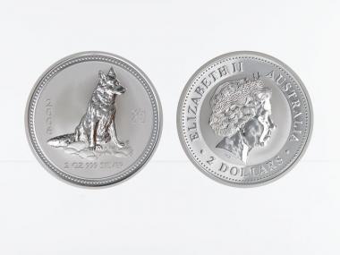 Australien 2$ Hund Lunar I  2006, 2 oz  Silber