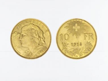 Schweiz 10 Franken Vreneli Goldmünze 1915