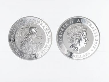 Australien 10$ Kookaburra 2015, 10 oz  Silber