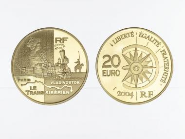Frankreich 20 Euro Gold, 2004,  Weltreise Bahn