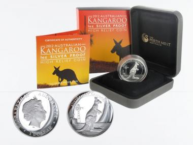 Australien 1$ Känguru 2012, high relief PP, Box + CoA