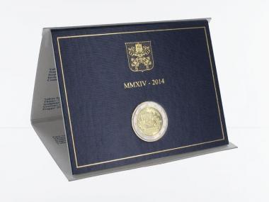 Vatikan 2 Euro Münze, 2014, Berliner Mauer im Folder