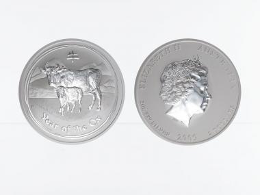 Australien 2$ Ochse Lunar II  2009, 2 oz  Silber