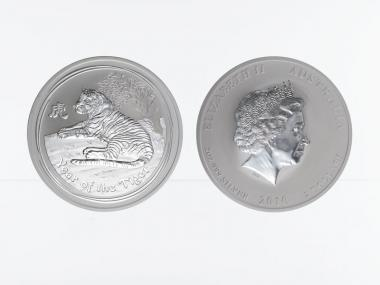 Australien 2$ Tiger Lunar II  2010, 2 oz  Silber