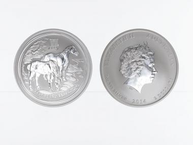 Australien 2$ Pferd Lunar II  2014, 2 oz  Silber