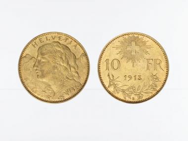 Schweiz 10 Franken Vreneli Goldmünze 1913