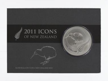 Neuseeland 1$ Kiwi 2011 Blister, 1 oz  Silber