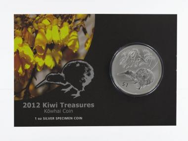 Neuseeland 1$ Kiwi 2012 Blister, 1 oz  Silber