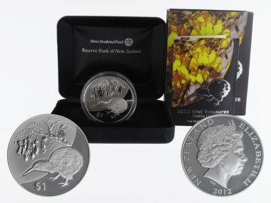 Neuseeland 1$ Kiwi 2012, 1 oz  Silber proof (B+C)