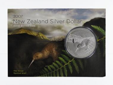 Neuseeland 1$ Kiwi 2007 Blister, 1 oz  Silber