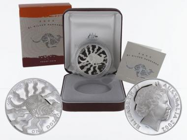 Australien 1$ Känguru 2002, 1 oz  Silber proof (B+C)