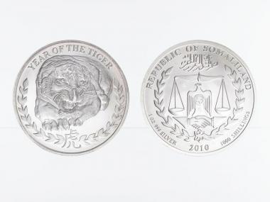 Somaliland 1000 Sh. Tiger 2010, 1 Unze Silber