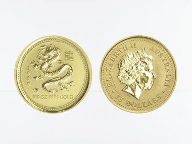 Australien 15$ Lunar I Drache, 1/10 Unze  2000