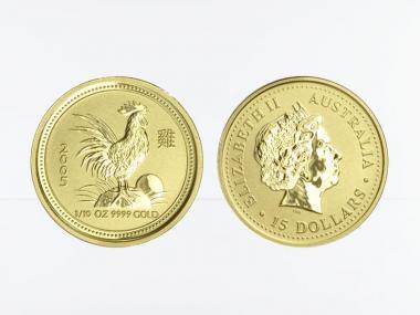Australien 15$ Lunar I Hahn, 1/10 Unze  2005