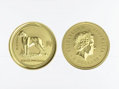 Australien 5 $ Lunar I Hund, 1/20 Unze  2006