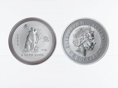 Australien 2$ Hase Lunar I  1999, 2 oz  Silber