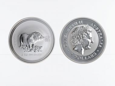 Australien 2$ Schwein Lunar I  2007, 2 oz  Silber