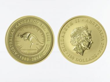 Australien 100 $ Nugget Känguru, Jubiläum 25 Jahre 1989-2014
