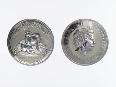 Australien 10$ Ziege Lunar I  2003, 10 oz  Silber